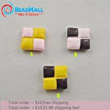 Min order $10 Square cake kawaii scrapbook Resin Cute colors crafts Flatback Cabochon 50pcs 15mm Free shipping DIY 061