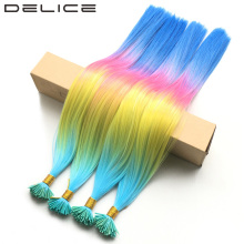 "[DELICE] 20"" 100strands/lot Blue Yellow Pink Rainbow Ombre Straight Grizzly Rosster Synthetic I Tip Hair Extensions + Beads Free"