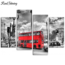REALSHINING Full Square Needlework 5D DIY Diamond Painting Red Bus Diamond Embroidery Cross Stitch Mosaic Home Decor FS328(China)
