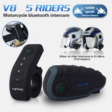 2016 New V8 BT Interphone with Remote Controller FM NFC 5 Riders Bluetooth Motorcycle Intercom 1200M Intercomunicador V8 motos(China)