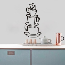 have a cup of coffee shop wall decals home decorations zooyoo8104 kitchen room removable vinyl wall art diy decorative sticker(China)