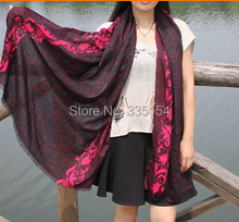 Women Hot Pink Vintage Floral Scarf Cotton Linen Fringe Scarf Shwals Wraps Hijabs 5Pcs/lot(China)