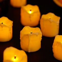 Pack of 12 Amber Electric Flameless Candles Battery Operated,White Flickering Tea Lights Christmas Halloween Decoration.(China)