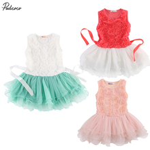 2017 Baby Kids Girls Princess Rose Flower Lace Layered Tutu Gown Fancy Dresses