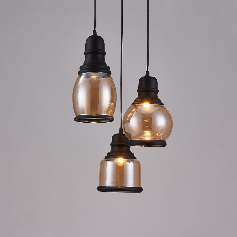 Vintage Black Amber Glass Pendant Light Retro Hanging Glass Shades Industrial Pendant Lights Home Decor Dining Room Edison Loft <br>
