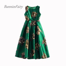 BunniesFairy STOCK CLEARANCE 50s Vintage Elegant Rose Retro Flower Floral Print Green Vest Dresses Sleeveless Wedding Party(China)
