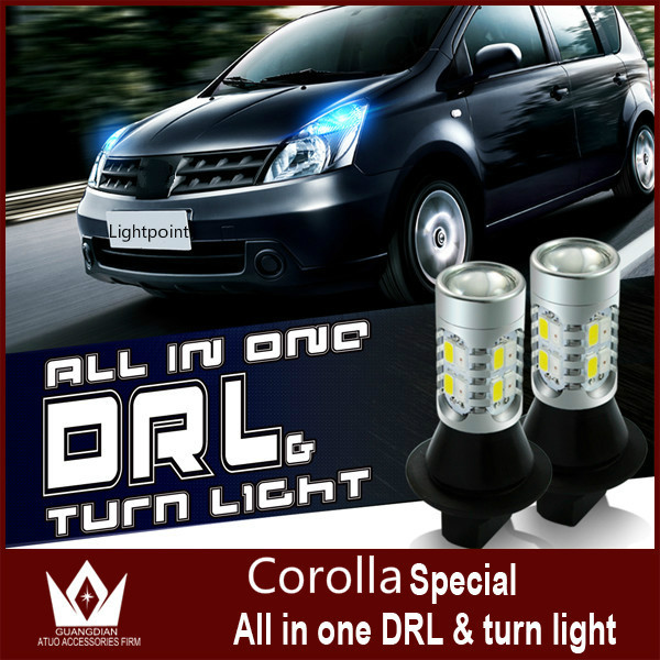 Guang Dian car led light Daytime Running Light with turn signal all in one 10W high btight 7440 T20 WY21W DRL For Corolla 2009<br><br>Aliexpress