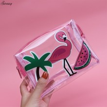 Summer Flamingo Cosmetic Bag Transparent PVC Makeup Bags Women Cosmetics Cases Cute Cartoon Clear Storage Toiletry Travel Trunk(China)