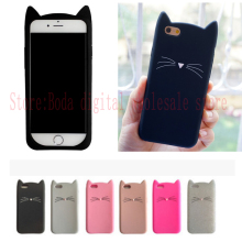 NEW Fashion 3D cute cartoon Black beard cat Ears soft silicone case For iphone 7 plus 5 5s se 6 6s plus rubber Coque back cover