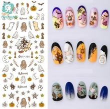 Rocooart DS350 Water Transfer Nails Art Sticker Vintage Halloween Bat Elements Nail Wrap Sticker Manicura stickers for nails