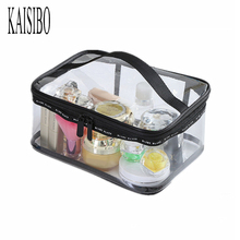 KAISIBO 3Size PVC Transparent Cosmetic Bag Women's Travel Waterproof Wash Organizer Pouch Women Makeup Necessaries(China)