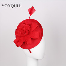 wholesale 15 colors imitation sinamay fascinators base with feather wedding headwear Church hats for women red hair accessories
