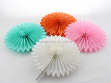 "Promotion!!! Party Supplies 12""(30cm) Tissue Paper Fan Wedding Decoration Round Paper Fan"