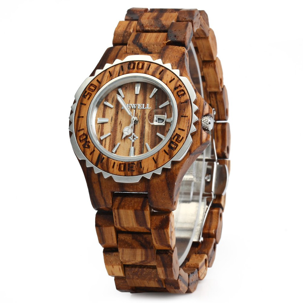 BEWELL Woman Watches Brand Luxury Wooden Quartz Watch Waterproof Luminous Hands Calendar Women Wristwatch relogio feminino<br>