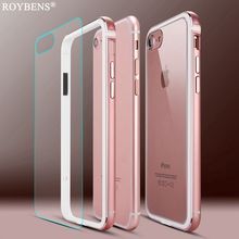 Roybens Metal Frame Case For iPhone 7 Plus Aluminum TPU Hybrid Bumpers + Transparent Panel Hard PC Back Cover For iPhone 6 6S(China)