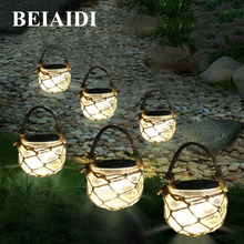 BEIAIDI 1PC Retro Solar Garden Hanging Candle Lamps Mason Jar Solar Lanterns Ball With Rope Landscape Patio Pathway Table Lamps(China)