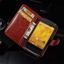 Luxury Wallet Style Stand PU Leather Case for LG Google Nexus 4 E960 Flip Cover Phone Bag Case for Nexus 4 with Card Slot