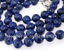 "6mm Natural Lapis lazuli  Beads Necklace Trendy Accessory Hand Made Fashion Jewelry Making Design Mother's Day gifts 35""xu58"