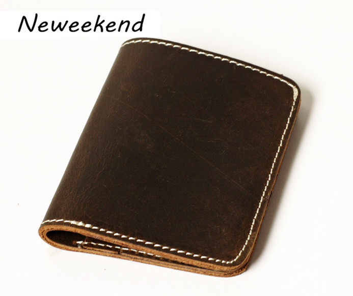 NEWEEKEND A162 Vintage Genuine Leather Crazy Horse Handmade Simple Short Thin Card Cash Money Wallet Purse for Man<br>