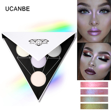 UCANBE Brand Triangle Glitter Eyeshadow Palette Holographic Shade Eye Lip Face Makeup Shimmer Shine Powder Nude Eye Shadow(China)