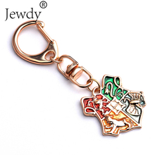 Potter Hogwarts Gryffindor Hufflepuff Ravenclaw Slytherin Logo Metal Keychains Pendant Key Chain Key Ring 2016 NEW H P Jewelry