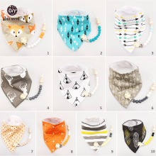 Let's Make (20pc 10set)Bunny Ears Teether Toddler Scarf Bib Toys Set Bandana Baby Montessori teething Wood Bracelets