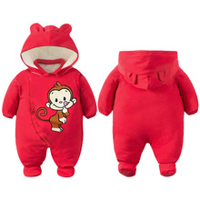 Infantil Monkey Red One Piece Baby Girl Romper Jumpsuit Cotton Padded Warm Baby Winter Clothes Macacao Bebe Infant Clothing(China)