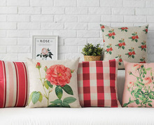 Free shipping Christmas gift pastoral rose flower floral red pink checked plaid striped pattern Cushion Cover throw pillow Case
