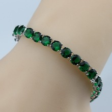 925 Sterling Silver Now Hot Selling Round Green Created Emerald Bracelet Health Fashion  Jewelry For Women Free Jewelry Box