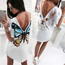 2017 NEW Women Cute Backless Summer Short Sleeve BUTTERFLY Cat Dress Ladies Loose Casual Tops