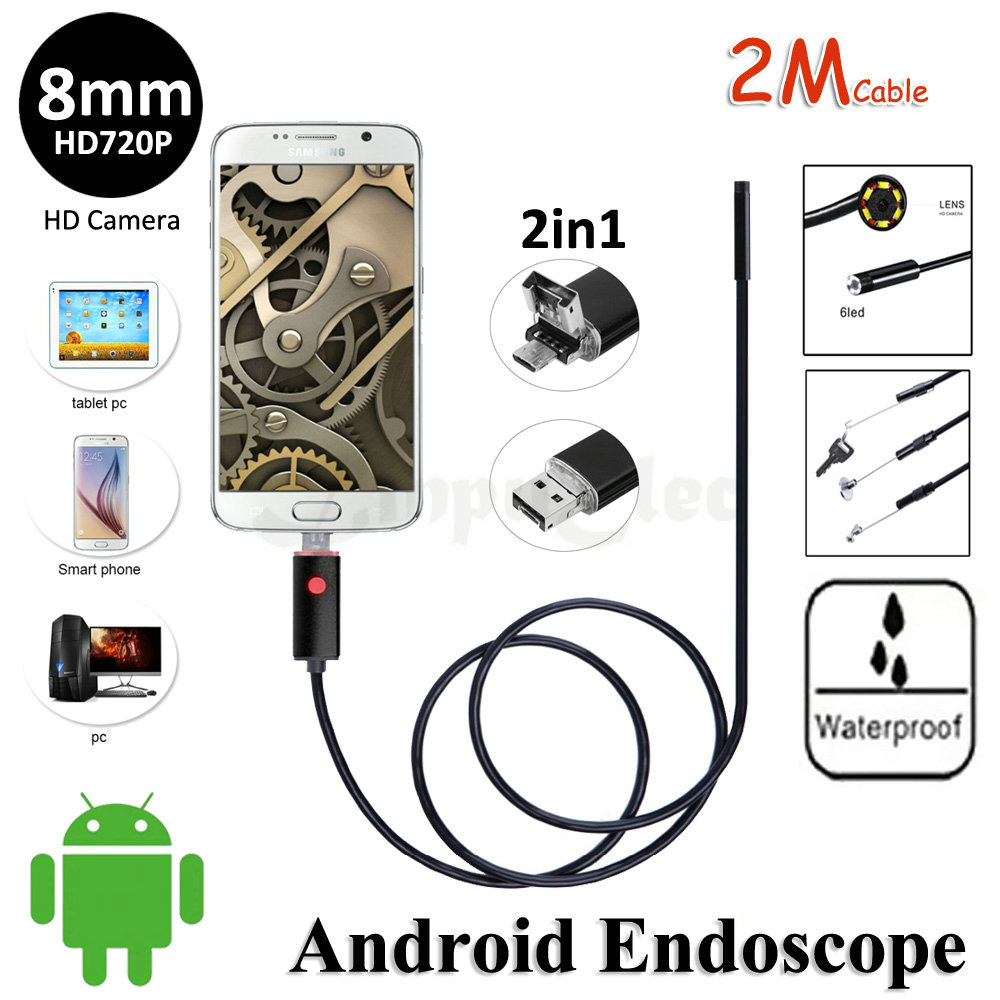HD720P 2In1 USB Camera 8mm Lens 2M Android Endoscope USB Camera Flexible Snake Pipe Inspection Android OTG Borescope Camera 6LED<br><br>Aliexpress