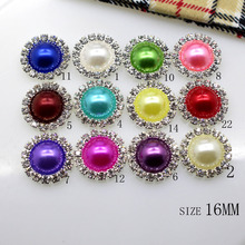 HOT 10PCS/LOT 16MM Color Ivory Flat Back Rhinestone Button Metal Crystal DIY Wedding Invitation Girl Hair Flower Accessory