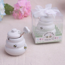 80Set/Lot Meant to Bee Ceramic Honey Pot wedding favor baby shower party birthday gift children guest gift present(China)