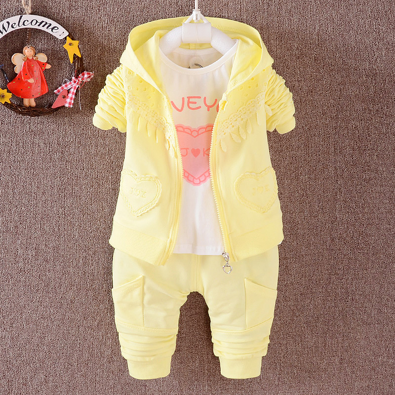 2017Spring And Autumn Baby Girls Clothing Set Fashion Children Clothing Hooded Girls Costume Long Sleeve 3 Pcs Sport Suit Cotton<br><br>Aliexpress