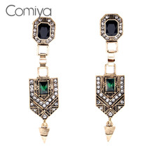 Comiya Luxuries Indian Style Earrings For Women Summer Shiny Rhinestone Mosaic Earings Fashion Jewelry From India For Gift