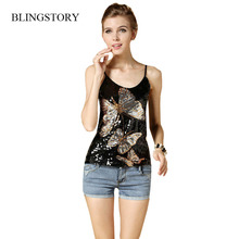 European style high quality women's top new paillette butterfly tank summer tanks camis sequin vest women tops Dropshipping(China)