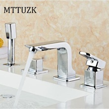 Free Shipping 4 Piece Bathroom Faucet Basin Faucets Deck Mounted Bathroom Tap Set 2 Handles 4 Hole Faucet Mixer  Crane 4pcs/set