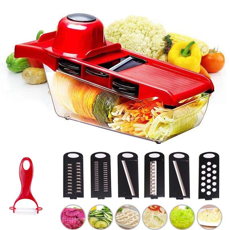 7 in 1 Mandoline Kitchen Vegetable Fruit Food Cutter Slicer Adjustable Blades UK