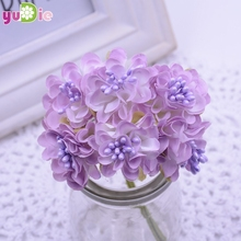120pcs/lot Mini Silk Artificial Rose  Bouquet Wedding Decoration Paper Flower For DIY Scrapbooking Flower Ball Cheap Flores
