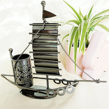 Delicate Sailing Three Style Ship Warship Sailboat Model Metal Material Pen Container Desktop Study Decor Gifts for Kids Friends