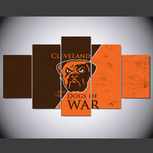 5 panel Modern cleveland browns logo hd Art print canvas art wall framed paintings for living room wall picture ny-504