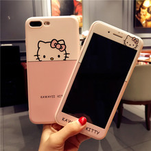Pink case For iPhone 8 plus 7 /7Plus hello kitty KT cat Tempered Glass for iPhone 6 6sPlus soft cover cartoon sakura girl Screen(China)