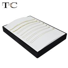 Jewelry Display Box Pearl Necklace Holder Case Silver Pendant Stand Chain Organizer Display Tray White and Black Velvet(China)