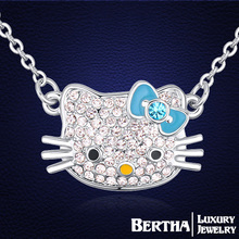 Hello Kitty Necklaces Crystals from Swarovski Chain Necklaces Collier Femme Jewelry For Women Best Friends New Accessories