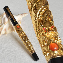 JINHAO FLY DRAGON PLAY PEARL GOLDEN ROLLER BALL PEN CRYSTAL BUSINESS OFFICE STATIOENRY BEST GIFT HIGH QUALITY