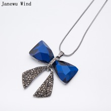 Janewu Wind blue Crystal Butterfly Pendant Necklace female long chain bow bowknot crystal Necklace women