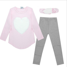 3pcs 1pc Hair Band+1pc Shirts+1pc Pants Children's Clothing Set Girls Long Sleeve Clothes Suits Red Pink Heart Cotton(China)
