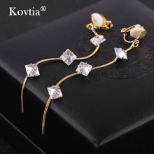 Kovtia Brand High Quality Crystal Jewelry Tasse Long Clip On Earrings Without Piercing Fashion Ear Cuff Earring For Women(China)