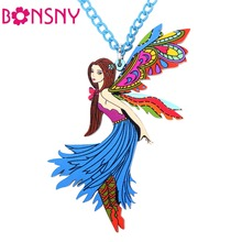 Bonsny Dance Angel Necklace Acrylic 2016 News Fairy Pendant Accessories fashion jewelry For Women Charm Famous Brand Design