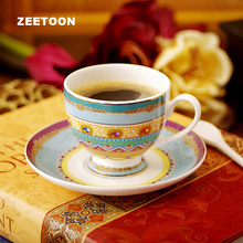 250ML Luxury British Style Royal High Feet Cup Ceramics Bone China 2 Pcs Coffee Mug Tea Water Milk Cup with Saucer and Spoon Kit(China)